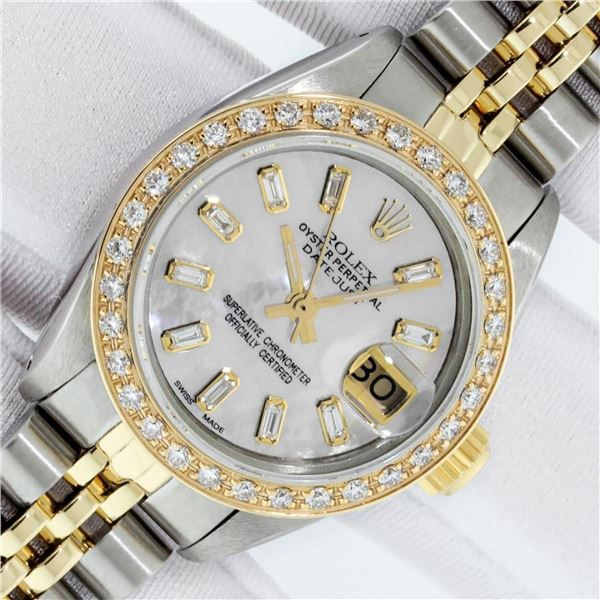 Ladies Datejust 26 YG/SS MOP Baguette Diamond Dial Oyster Perpetual
