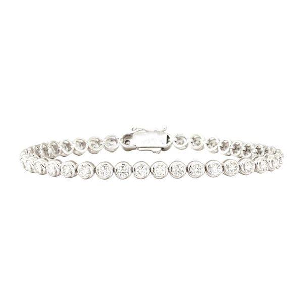 3.20 ctw Round Brilliant Cut Diamond Tennis Bracelet - 14KT White Gold