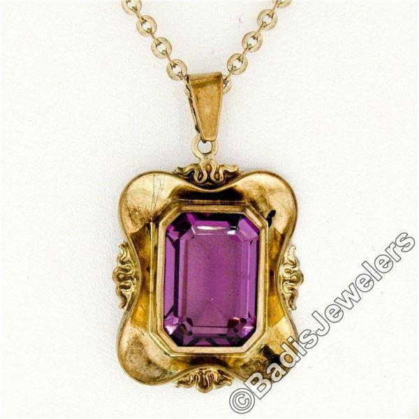 Victorian 8kt Gold Octagonal Bezel Set Amethyst Solitaire Pendant Necklace