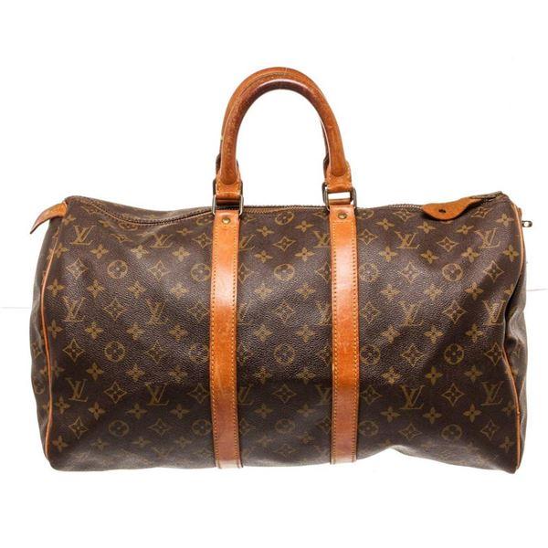 Louis Vuitton Brown Monogram Keepall 45cm Travel Bag