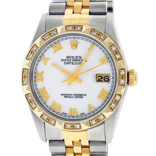 Rolex Mens 2 Tone MOP Roman Pyramid Diamond Bezel Datejust Wristwatch