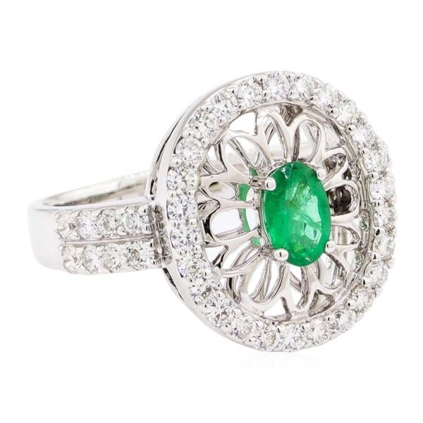 1.16 ctw Oval Mixed Emerald And Round Brilliant Cut Diamond Ring - 14KT White Go