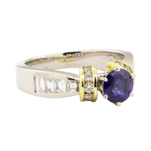 1.65 ctw Blue Sapphire And Diamond Ring - Platinum and 18KT Yellow Gold