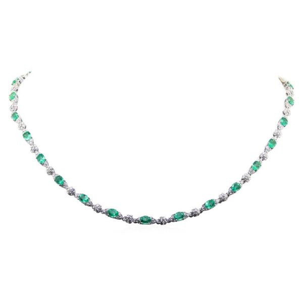 8.75 ctw Emeral and Diamond Necklace - 14KT White Gold