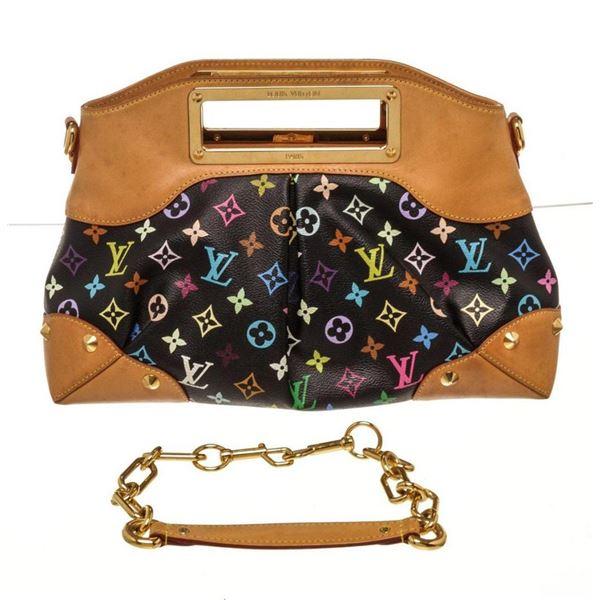 Louis Vuitton Black Multicolor Judy MM Satchels