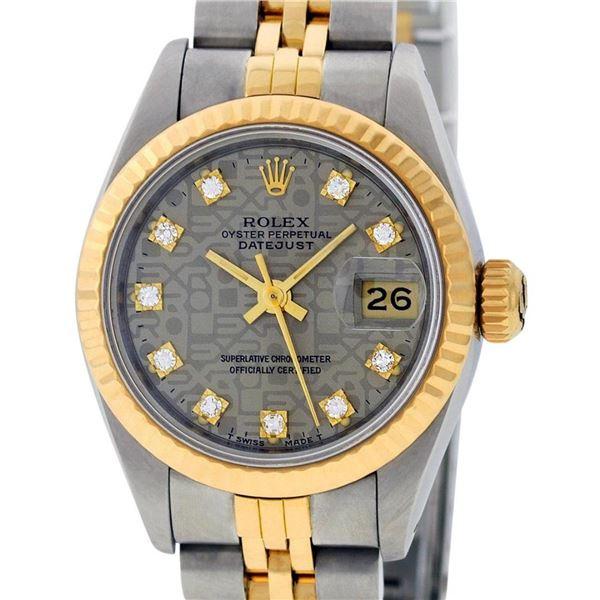 Rolex Ladies 2 Tone Slate Grey Jubilee Diamond 26MM Datejust Wristwatch
