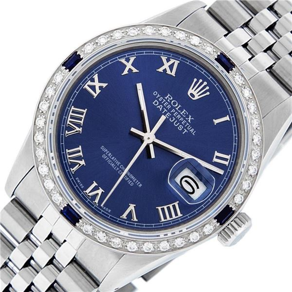 Rolex Mens Stainless Steel Blue Roman Diamond & Sapphire 36MM Oyster Perpetual D