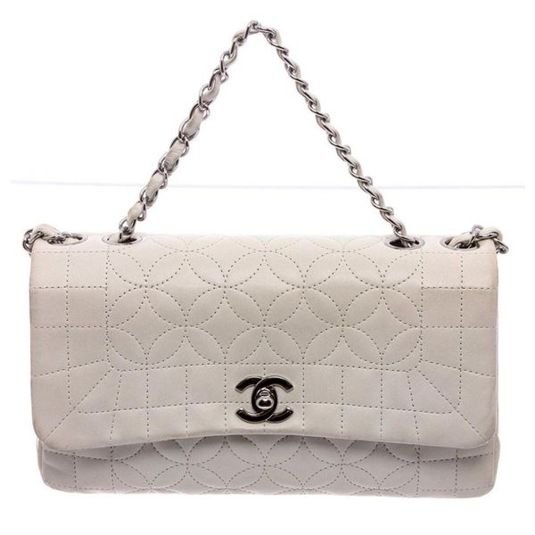 Chanel White Stitched Leather Single Flap Bag