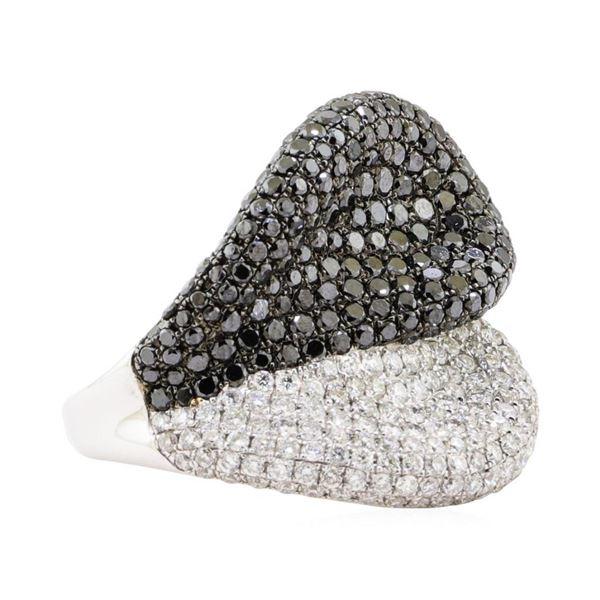 4.11 ctw Black and White Diamond Ring - 18KT White Gold