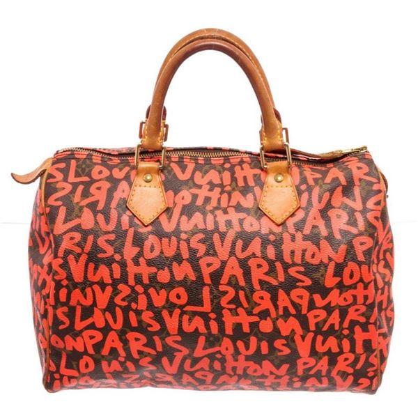 Louis Vuitton Red Graffiti Speedy 30cm Satchel Bag