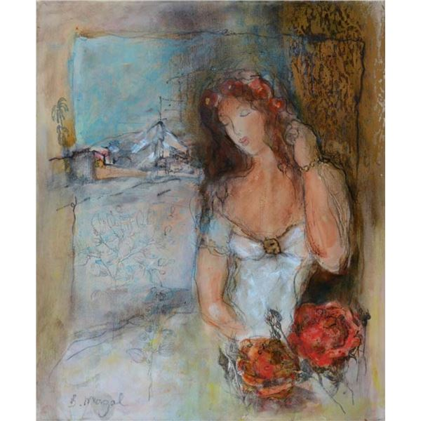 MAGAL **WOMAN IN WHITE DRESS ** SIGNED ORIGINAL OIL