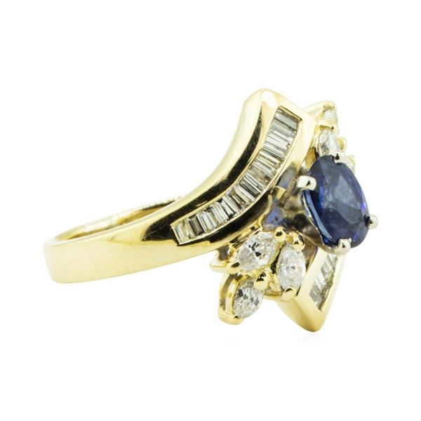 2.05 ctw Pear Brilliant Citrine Quartz And Diamond Ring - 18KT Yellow Gold
