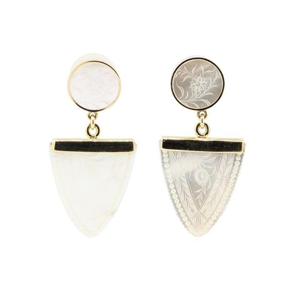 Hand-Engraved Mother of Pearl Dangle Earrings - 14KT Yellow Gold