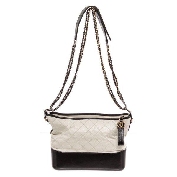 Chanel Black White Leather Gabrielle Shoulder Bag