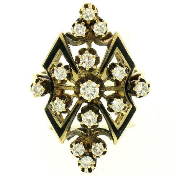 14k Yellow Gold .90 ctw Round Diamond Black Enamel Marquise Cocktail Ring