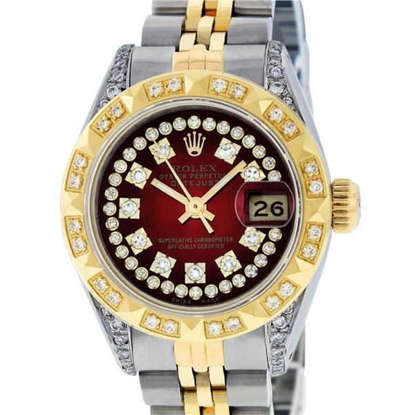Rolex Ladies 2 Tone Red Vignette Diamond Lugs Pyramid 26MM Datejust Wriswatch