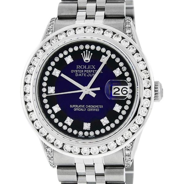 Rolex Mens Stainless Steel Blue Vignette Diamond Datejust 36MM Oyster Perpetual
