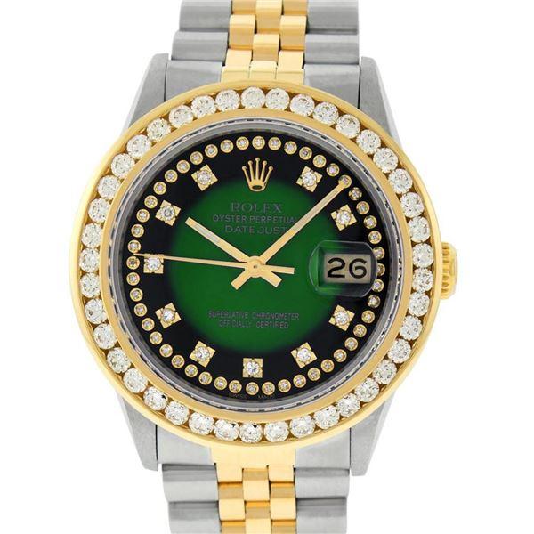 Rolex Mens 2 Tone Green Vignette String VS 3 ctw Channel Set Diamond Datejust Wr
