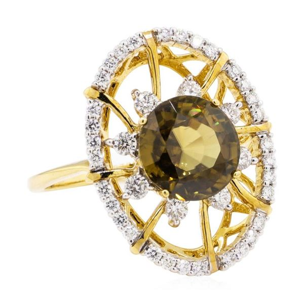 4.85 ctw Round Mixed Yellow Zircon And Round Brilliant Cut Diamond Ring - 18KT Y