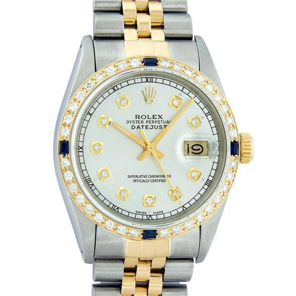 Rolex Mens 2 Tone Silver & Sapphire Diamond 36MM Datejust Oyster Perpetual Wrist