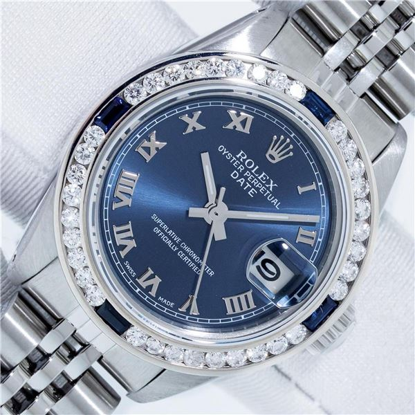 Rolex 26 Ladies Stainless Steel Factory Blue Roman With Service Card and Box