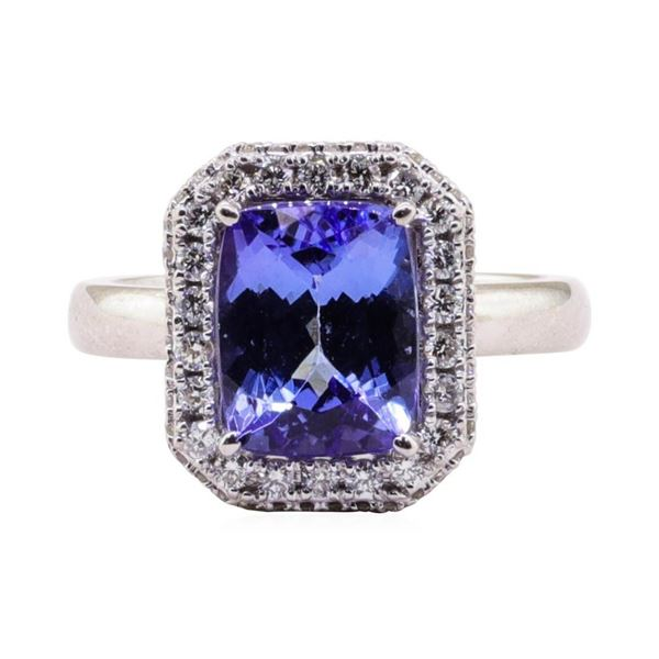 3.10 ctw Tanzanite and Diamond Ring - 14KT White Gold