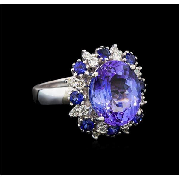 14KT White Gold 6.56 ctw Tanzanite, Sapphire and Diamond Ring
