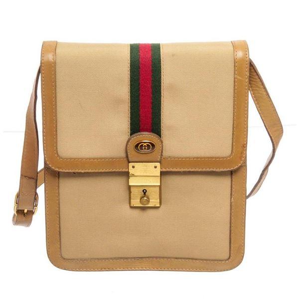 Gucci Beige Canvas Sherry Line Vintage Shoulder Bag