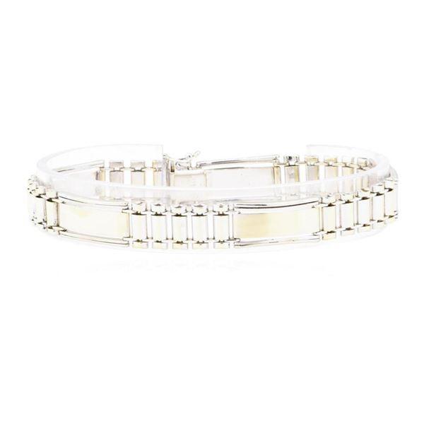 Fancy Link Men's Bracelet - 14KT Yellow and White Gold