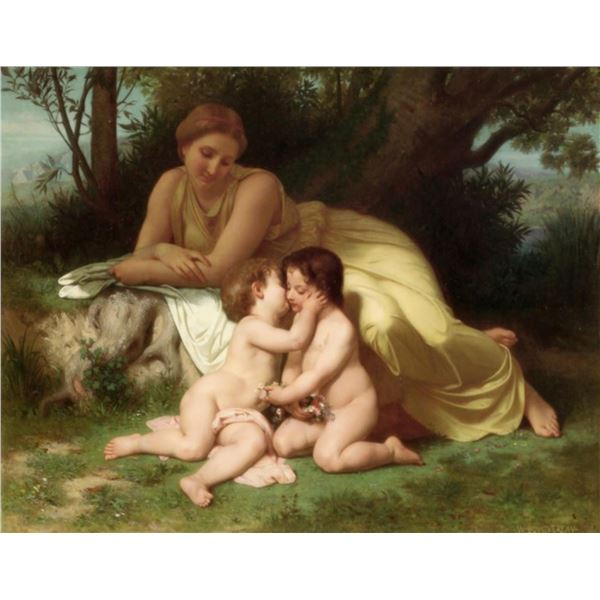 William Bouguereau - Young Woman Contemplating Two Embracing Children