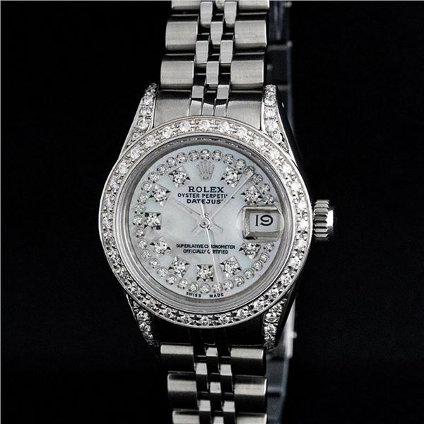 Rolex Ladies Stainless Steel 26MM MOP Diamond Lugs Oyster Perpetual Datejust