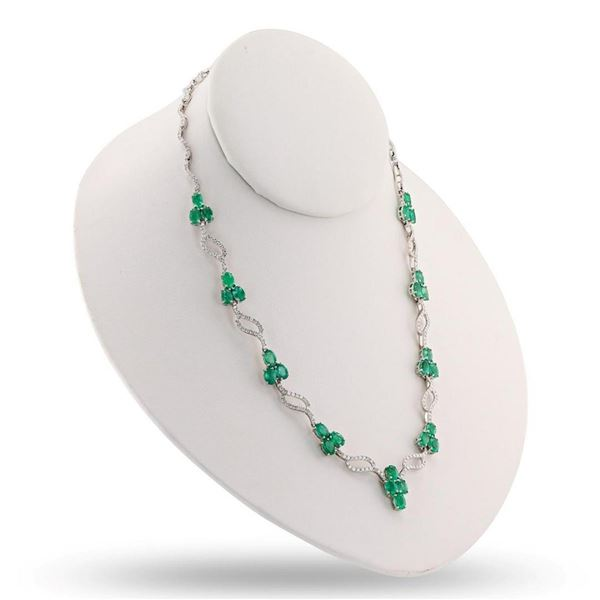 11.92 ctw Emerald and 3.64 ctw Diamond 18K White Gold Necklace