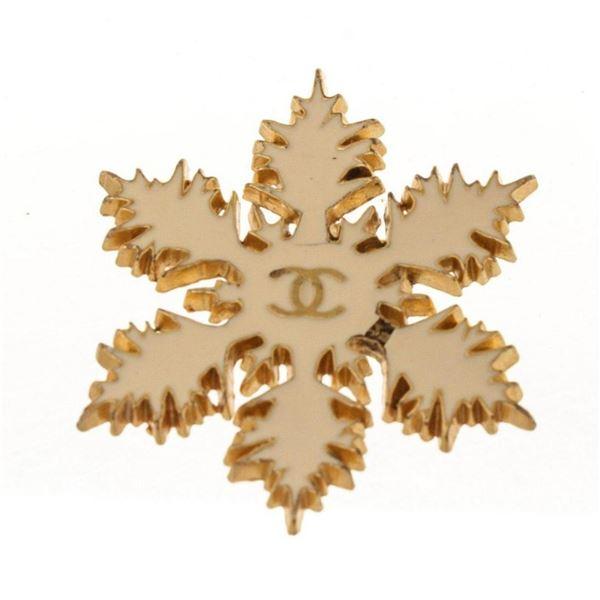Chanel Gold CC Snowflake Crystal Charm