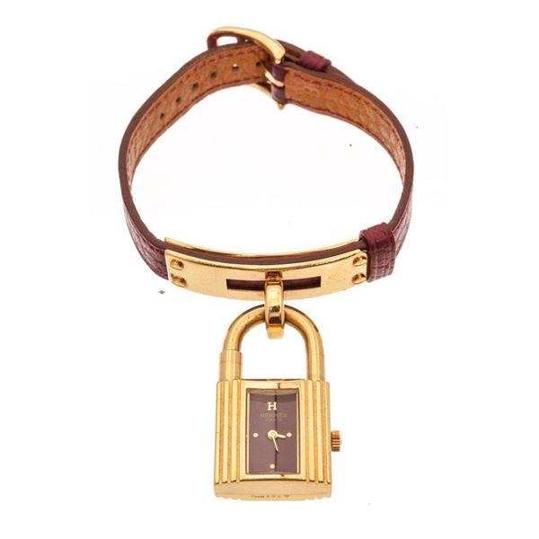 Hermes Burgundy kelly Watch