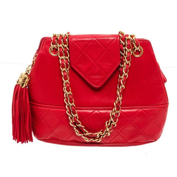 Chanel Red Leather Vintage Tassel Crossbody Bag