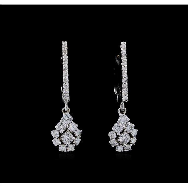0.85 ctw Diamond Earrings - 14KT White Gold