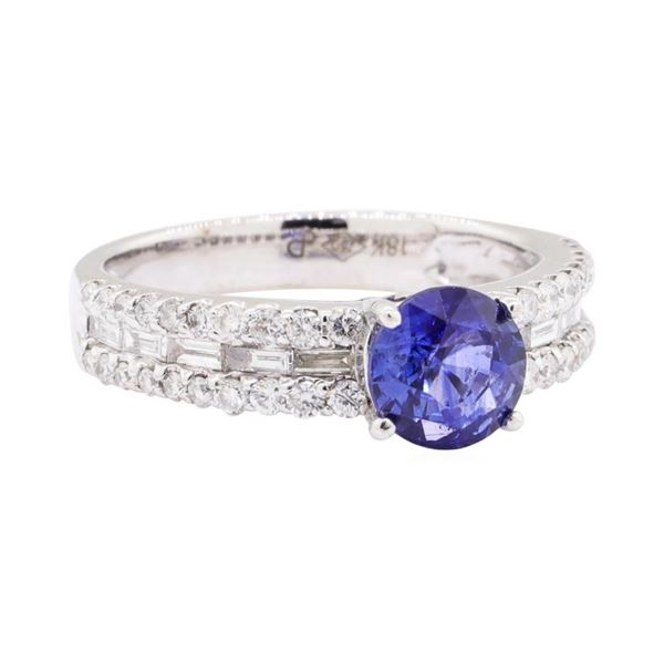 0.89 ctw Sapphire and Diamond Ring - 18KT White Gold