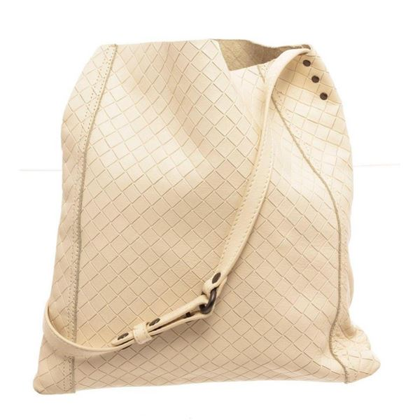Bottega Venetta Cream Lambskin Leather Tote Bag