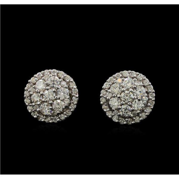 14KT White Gold 0.90 ctw Diamond Earrings