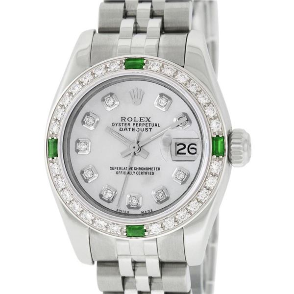 Rolex New Style Ladies 26 Mother Of Pearl Diamond And Emerald Datejust Oyster Pe