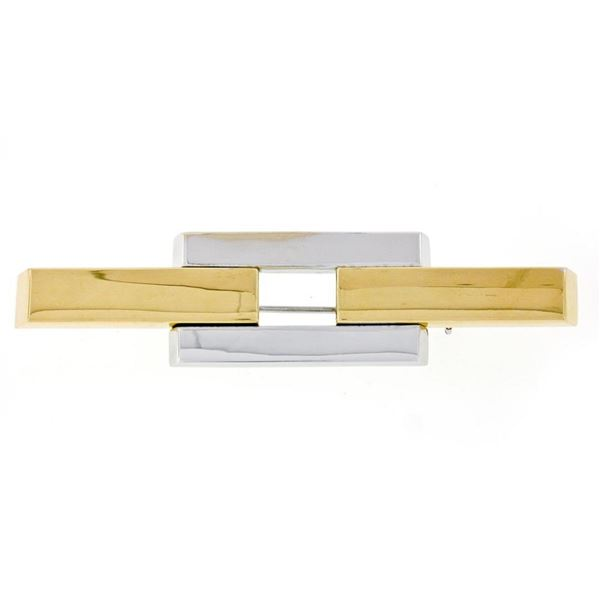 Albadoro Italian 18K Yellow White Gold Unique Geometric Polished Bar Brooch Pin