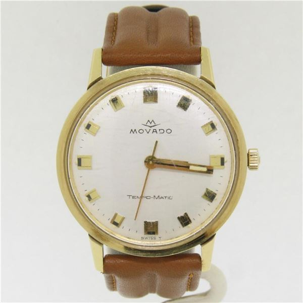 Vintage '60s Mens 14k Gold 34mm Movado Sub Sea Tempo Matic Automatic Wrist Watch