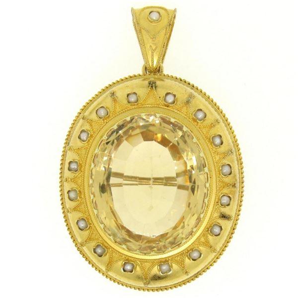 14k Yellow Gold 49 ctw Natural Citrine & Pearl Brooch Pin Pendant