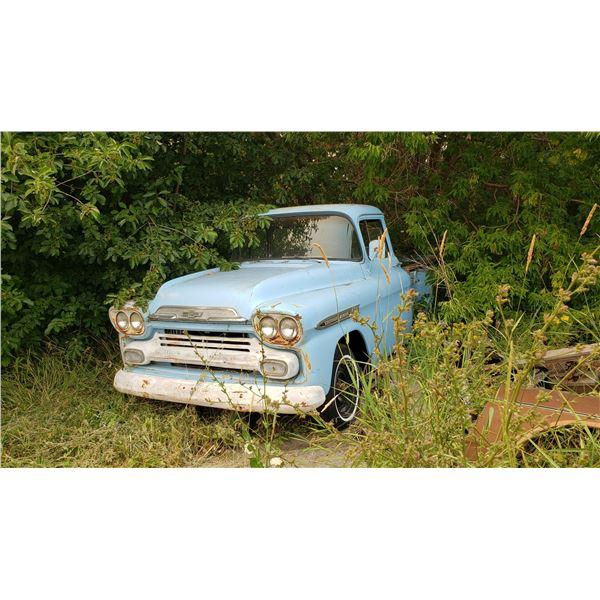 1958 Chevy pickup - rare, big back window cab, long box, stepside