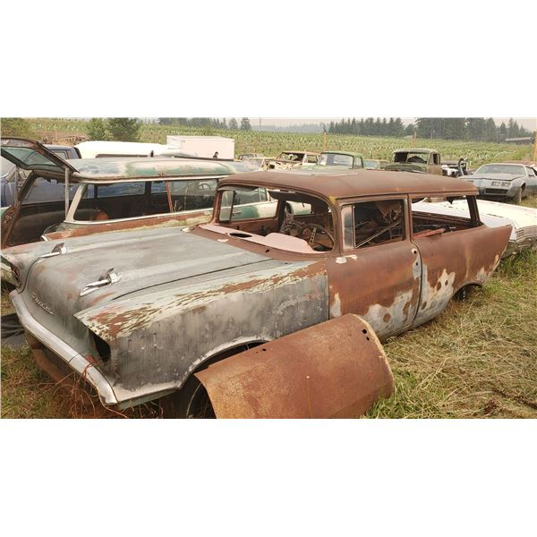 1957 Chevy Wagon - 2dr, body is rough but has minimal rust
