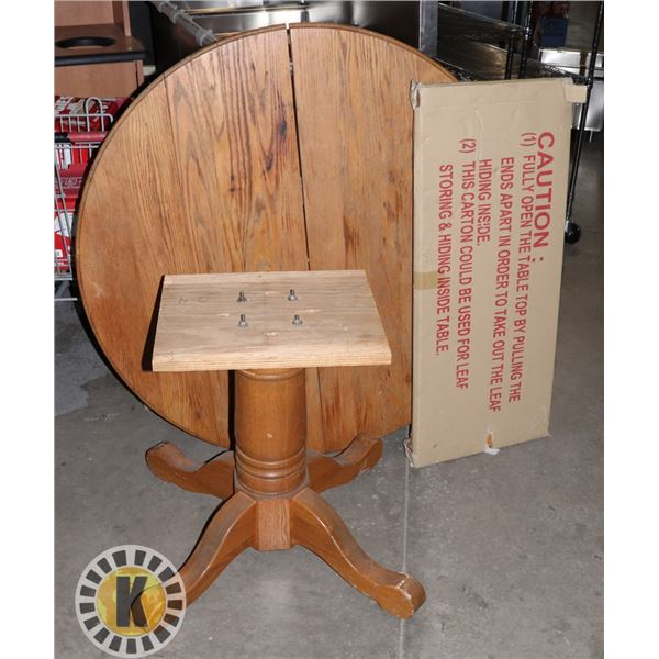 ESTATE WOOD ROUND TOP TABLE WITH LEAF
