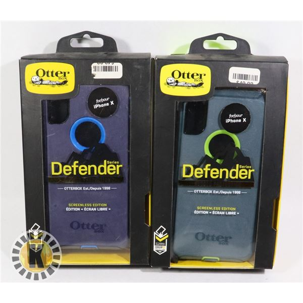LOT OF TWO NEW IPHONE X OTTER HEAVY DUTY CASES W/