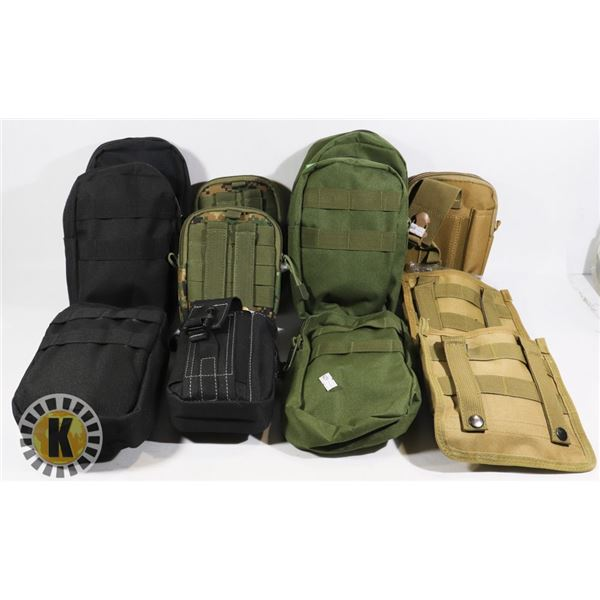 BOX OF 12 TACTICAL BIKE AND BELT MOUNT BAGS