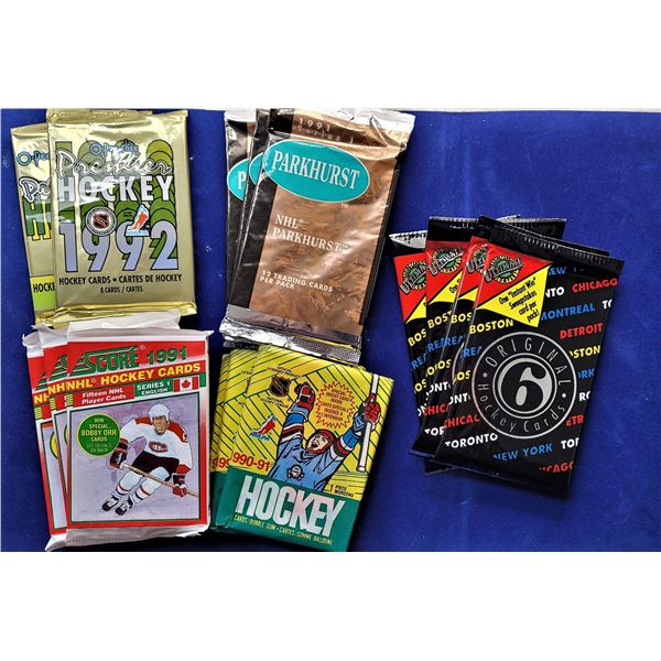 8)  LOT OF 15 VINTAGE PACKAGES OF SEALED HOCKEY