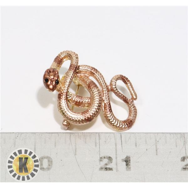 16)  ROSE GOLD COLORED SERPENT BROOCH WITH